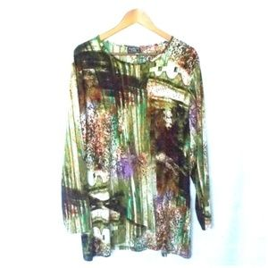 Southern Lady Abstract Print Plus Size Tunic 1X